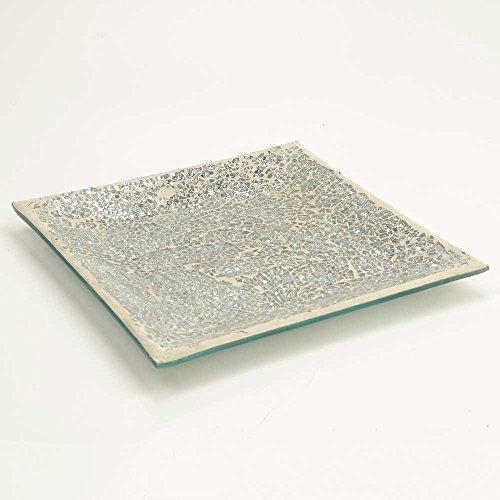 Silver Sparkle Mosaic Square Plate Ornament