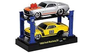 Ford Mustang GT Tuning, 2er-Set: , argenté/orange, 1969, voiture miniature, Miniature déjà montée, M2 Machines 1:64