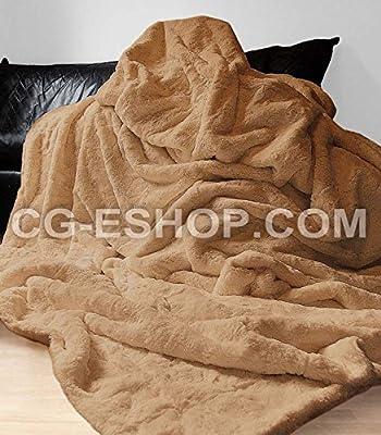 Manta Pelo Manta Para Cama de Matrimonio 220 X 240 cm, Color Marrón Pardo BEIGE