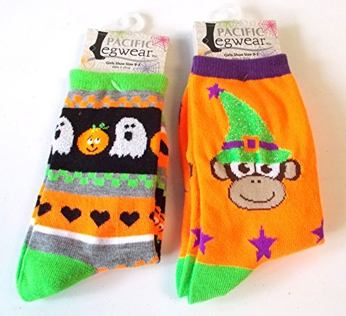 halloween-socks-orange-monkey-ghost-jack-o-lantern-striped-girls-9-3-nwt
