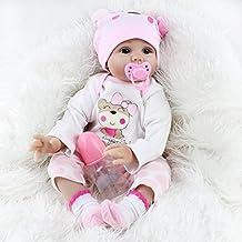ZIYIUI 22 Inch 55 cm Muñeca Reborn Baby Dolls Hecho a Mano Vinilo de Silicona Suave Realidad Bebé Recién Nacido Chica Juguete magnético Realista Niño Regalo de Navidad