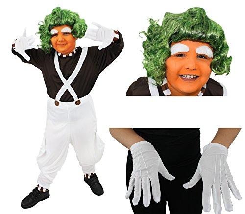ILOVEFANCYDRESS KINDER KOSTÜM CHOCOLATE FACTORY WORKER DELUXE ZUBEHÖR SET SCHULE BUCHWOCHE JUNGEN/MÄDCHEN-MOTIV (Roald Dahl Oompa Loompa Kostüm)