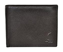 Chandair Genuine German Leather Dull Black & Brownish Touch Stylish Mens Wallet for Men (CH-NW-02)