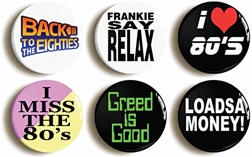 6 x 80s Themed Button Badges