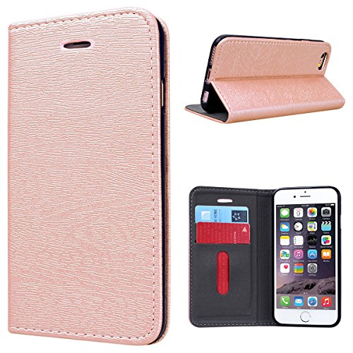 Cover iPhone 6 Plus/6S Plus, GrandEver Cover in Pelle Elegante Portafoglio Flip Custodia Slot Holder per Carta di Credito Cover Case per iPhone 6 Plus/6S Plus - Rosa Oro Rosa Oro