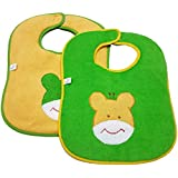 GoodStart Waterproof Baby Bibs With Self Sticking Tape For 0-9 Months In Set Of 2 In Green & Yellow (Print May Vary)