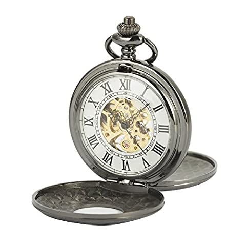 ManChDa Mechanical Pocket Watch Double Hunter Retro Skeleton White Dial for Men Women with Chain + Gift