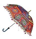 ganesham handicraft- Dekorative indische Handarbeit Dekorative Baumwolle Spiegel Arbeit Stickerei, UV-Schutz Regenschirm, Sonnenschirm, Boho Sonnenschirm Bohemian indischen Hochzeit Regenschirme Sonnenschirm, Sonnenschirm