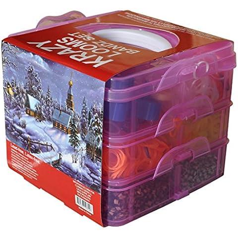 KRAZY Looms 3500 Bandas Box Set pulsera que hace el kit incluye 1 Telar, 1 Mini Loom Hooks