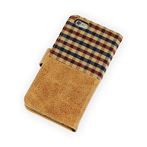 QIOTTI >               Apple iPhone 6 und 6S (4,7 Zoll)               < incl. PANZERGLAS H9 HD+ Geschenbox Booklet Wallet Case Hülle Premium Tasche aus echtem Kalbsleder / Denim mit Kartenfächer. Edel verpackt incl. Stoffbeutel. SCOTLAND