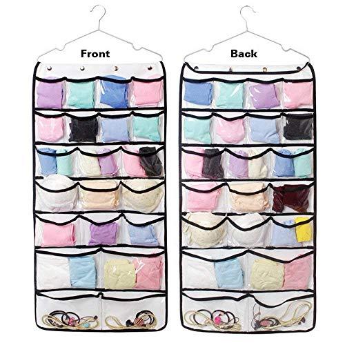 Pulchram 42 Taschen hängende Aufbewahrungsbeutel Tür Kleiderschrank Lagerung Schmuck Schuh BH Unterwäsche Socken Krawatten Organizer mit Aufhänger -