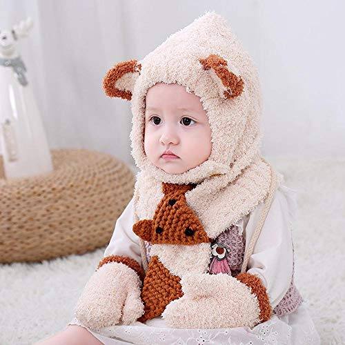 Baby Gap 3 Stück (Myzixuan Winter Kinder DREI Stück Set Hut Handschuh Schal Set verdickte Baby Gap im freien kalt)