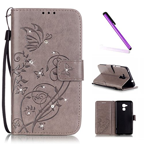 EMAXELERS Huawei Honor 5C Hülle Leder Lederhülle Flip Glitzer Schale Brieftasche Standfunktion & Karte Halter Etui Kartenfächer Wallet Tasche Etui für Huawei Honor 5C,Gray Butterfly with Diamond