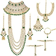 Aheli Traditional Wedding Indian Bridal Jewelry Set Long Choker Necklace Earrings Maang Tikka Nath Paasa Hath