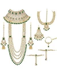 Peora Ethnic Indian Traditional Gold Plated Kundan Dulhan Bridal Jewellery Set with Choker Earrings Maang Tikka Hathphool for Women