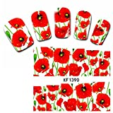 Born Pretty Water Decals Coquelicots Stickers Décorations Ongles Nail Art Facile Manucure #XF1390