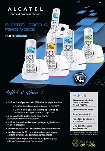 F390 Voice Duo- Téléphone sans fil au design coloré, Répondeur intégré, Pure Sound, Mains libres, Grand écran rétroéclairé, Grand répertoire, Sonnerie VIP - Blanc/Gris