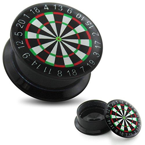 eeddoo® 18mm FLESH TUNNEL DARTSCHEIBE schwarz - schwarzer DARTS Piercing Plug - aus hochwertigem Acryl (Kunststoff) - OHRTUNNEL mit Schraubgewinde - für Damen & Herren