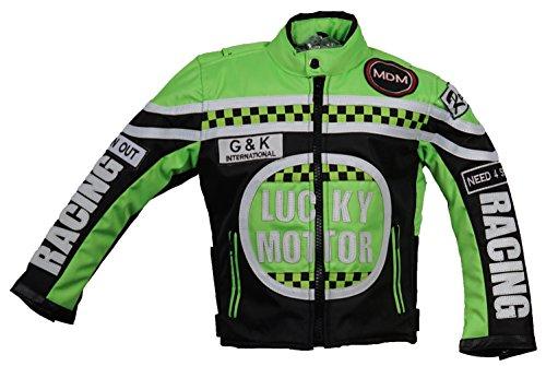 Kinder Motorrad Jacke, Bikerjacke, Racing Jacke grün, (M)