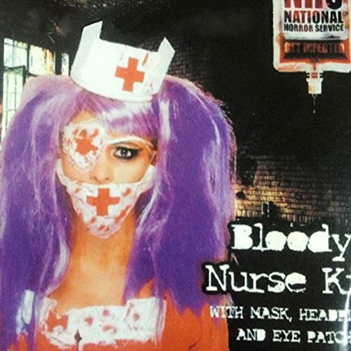 Kicode Horror Furchtsam Halloween Blutig Krankenschwester Brille Masken Stirnband Kit Oder Blut Drip Cosplay Fancy Dress Stütze (Kostüme Naughty Plus Size)