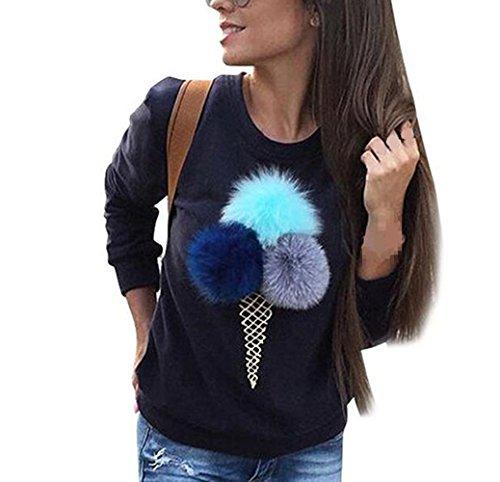 WOCACHI Damen Frauen-Sweatshirt Plüsch-Ball-lange Hülsen-beiläufiges Blusen-Hemd-Pullover Marineblau (L, Marineblau)
