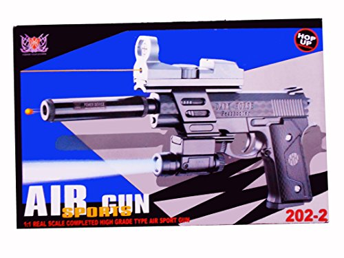 Happie Shop Toy Air Gun With Red Laser & Blue Light 202-2 Sports Handgun With High Performance 6Mm Bb Bullets