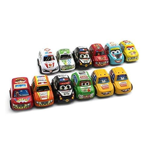 VANKER 12pcs Mini Súper Operando de vehículos de juguete de plástico inercia Racing Cars regalo