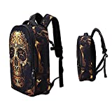 Schulrucksack Schultasche Cool 3D Abziehbild Pattern Rucksack Reise Camping Modern Daypacks Laptop Tasche Blickfang Umhängetasche für Student Teen Jungen Mädchen (Schwaz - Skull & Bones)