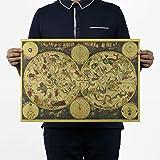 ShopSquare64 Oude Wereld Constelaciã³n del Zodiaco del Cartel Kaart Behang Vendimia Retro Kraftpapier Poster Home Decor