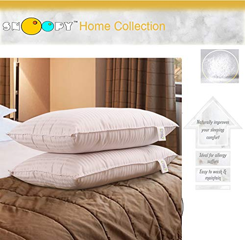 "Snoopy Ultra Premium Satin Pillow Set of 2 Pillows with 2 Pillow Covers - 17"" x 27"", Satin White"