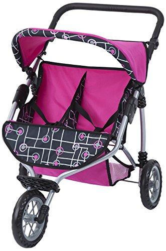 Bayer Design 33991AA - Puppen-Zwillingsjogger, pink, schwarz mit Muster