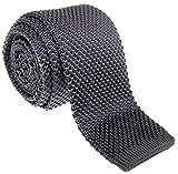 Retreez Herren Schmale Krawatte Strickkrawatte Knit Tie Vintage Smart Casual 5 cm - dunkelgrau
