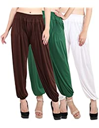 Jollify Solid Cotton lycra Harem Pants(pack up3) brown, grey,white