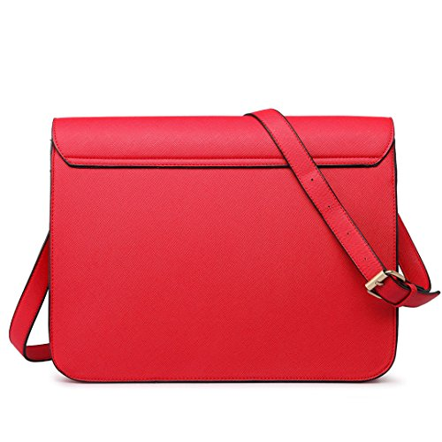 Miss Lulu Damen Schultertasche Cross Body School Messenger Bag Satchel Schule Tasche 1665 Rot