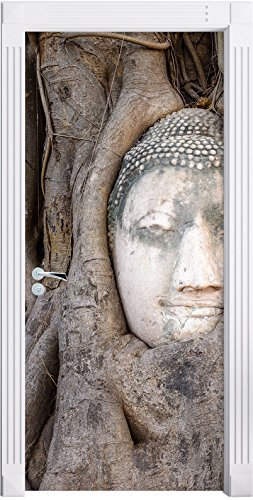 Stil.Zeit Möbel tête de Bouddha Grandir Ensemble dans l'arbre comme Fond d'écran de la Porte, de la Taille: 200x90cm, Cadre de Porte, Porte Autocollants, décoration de Porte, Porte Autocollants