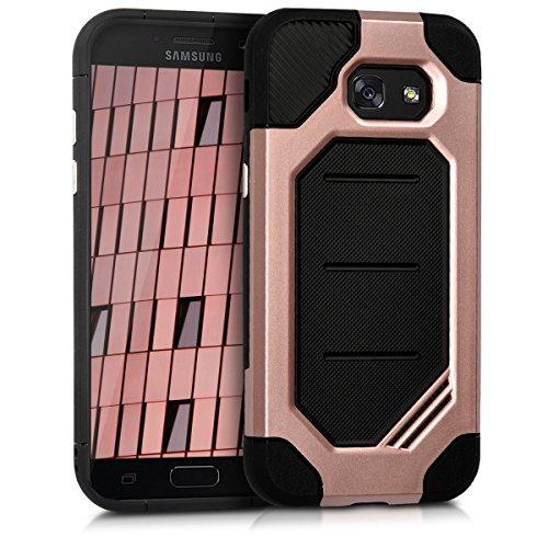 kwmobile Hülle für Samsung Galaxy A5 (2017) - Hybridhülle Dual Case Handy Schutzhülle TPU Silikon - Hybrid Cover Tresor Design Rosegold Schwarz