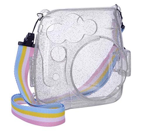 Goocor Kristall Kameratasche mit Verstellbarem Regenbogen Schultergurt und Objektivtuch für Fujifilm Instax Mini 9/Mini 8/Mini 8+ Instant Kamera - Glänzend und transparent