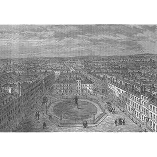 SOHO. Golden Square in 1750. London - c1880 - old antique vintage print - art picture prints of London