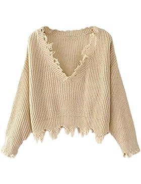 Vovotrade Mujer Otoño invierno Cuello en V Casual Manga larga tejido de punto Suéter Oblicuo Tops Blusa Decoración...