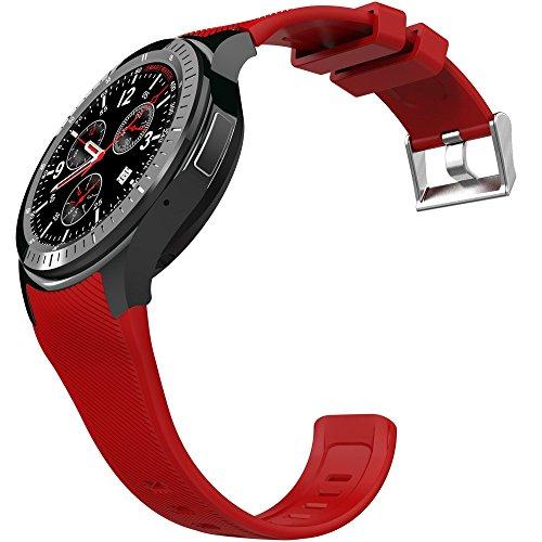 Wilabuda Reloj Inteligente a Prueba de Agua dial Redondo Control de frecuencia cardíaca WiFi Paso Seguimiento GPS Bluetooth Pulsera Deportiva, Gules