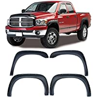 4pcs Front and Rear Textured Black Aftermarket Pocket Riveted Style ABS Plastic Fender Flares for 2002-2008 Dodge Ram 1500 2003-2009 Dodge Ram 2500 / 3500 Pickup by