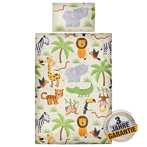 Aminata Kids Baby-Wende-Bettwäsche-Set Zoo-Tiere Safari 100-x-135-cm Jungen, Mädchen - Baumwolle - grün, Bunte - weich & kuschelig, brillantes Druckbild durch Digital-Druck, Reißverschluss & Öko-Tex (Mädchen Safari-baby-bettwäsche)