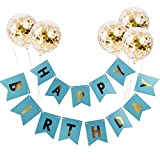 Limeo Happy Birthday Decoration Palloncino Banner con Palloncini Buon Compleanno 13 Face Card Corda 1 Radice e 5 Palloncini d'oro Sequin 12 Pollici (Blu)