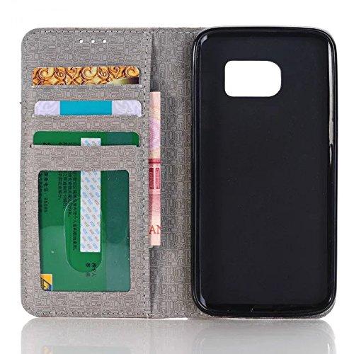 Samsung Galaxy S7 Case,cowboy - Jeans - Stil Kreuz Patten Oberfläche Lederetui Mit Crddit Card Slot Und Geld Stehen Auf S7 Fall Für Samsung ( Color : 4 , Size : Samsung S7 ) 3
