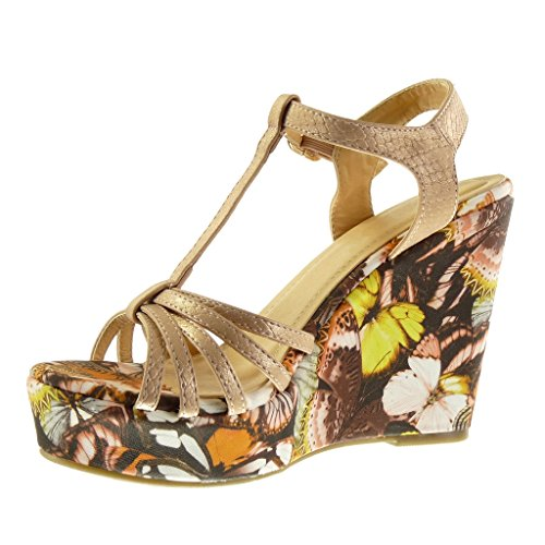 Angkorly Chaussures Sandales Mode Mules Strap Wedges Femmes Fleurs Multi-bridon Plateforme Talons Talon 11.5 Cm Champagne