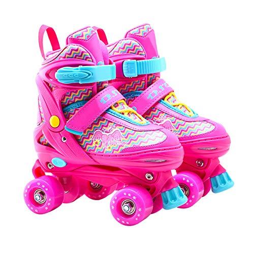 ZCRFY Rollschuhe Kinder Inline Skates Einstellbare Zweireihig 4 Rad Fancy Rollerblades Für Anfänger Mädchen Jungen Kind Erwachsene Geburtstagsgeschenke,Pink-M(33-37) Code (Code Mädchen Pink)