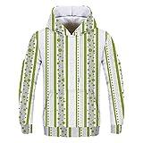 NINGSANJIN Herren Sweatshirt Pullover Sweater mit Kapuze Meliert (Grün,L)