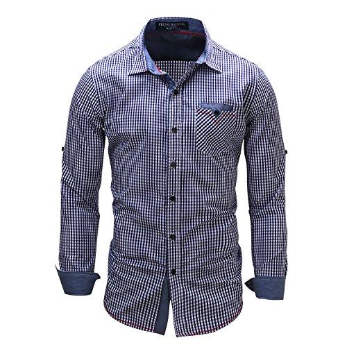 Kuson Herren Kariert Hemd Slim Fit Bügelleicht Doppelfarbig Hemden Karo Hemd