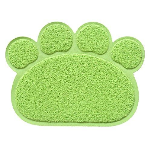 Hunde Vorleger Matte Pad,KINGCOO Katzentoilette Matratze Haustier-Tischset Platzmatte Tischmatte für Hunde Katzen,30X40CM Kleine Elastische PVC Pfote Desig (Grün)