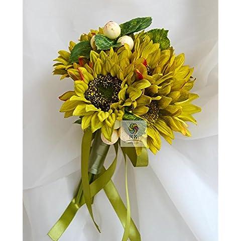 Yxhflo Fiore Di Emulazione Wedding Flower Art Sposa Damigella Mani Di Girasole Fiori Multicolori Mani , Verde
